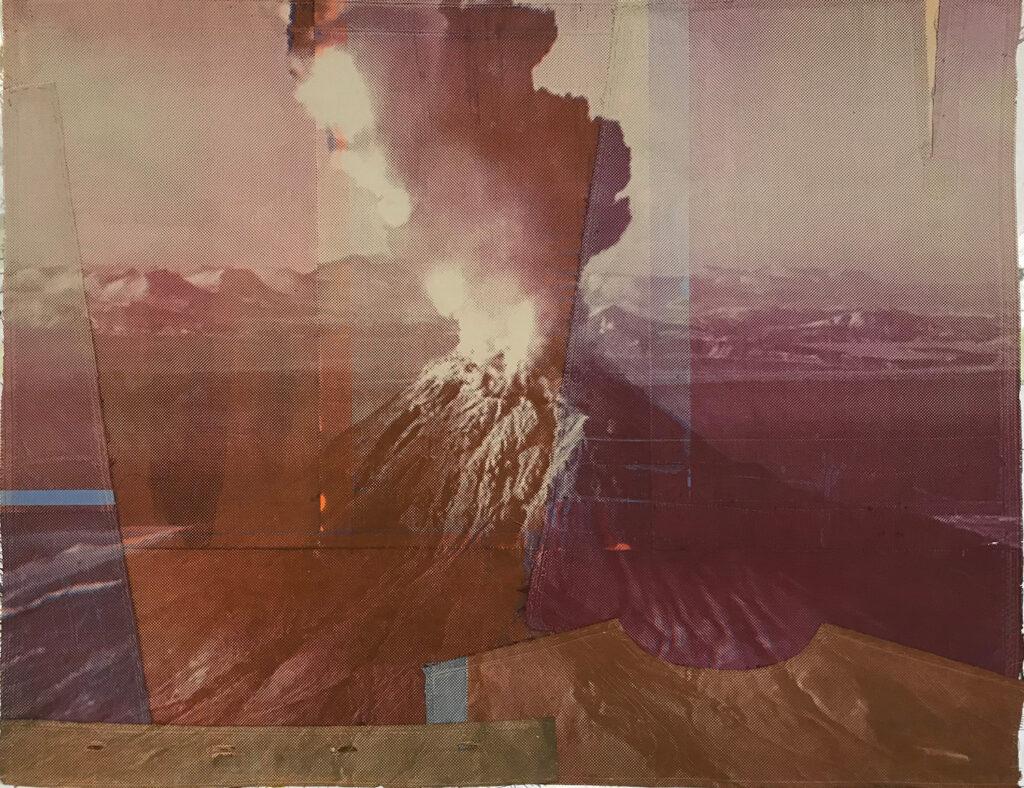 Maria Lilja, Vulcan 2, 63 x 84 cm, screentryck på textil.