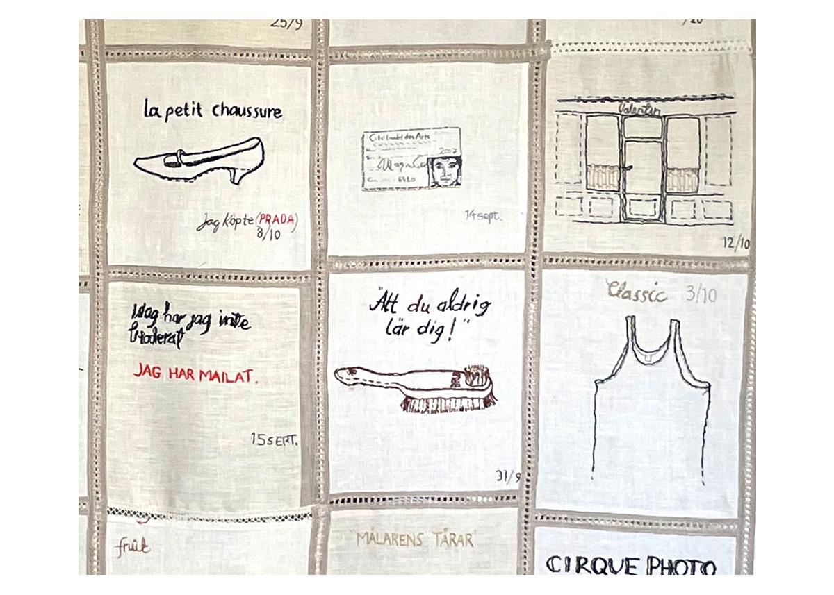 Kerstin Åström Carlén, Broderi, textil, 140 x 190 cm, pris: 38.500:-