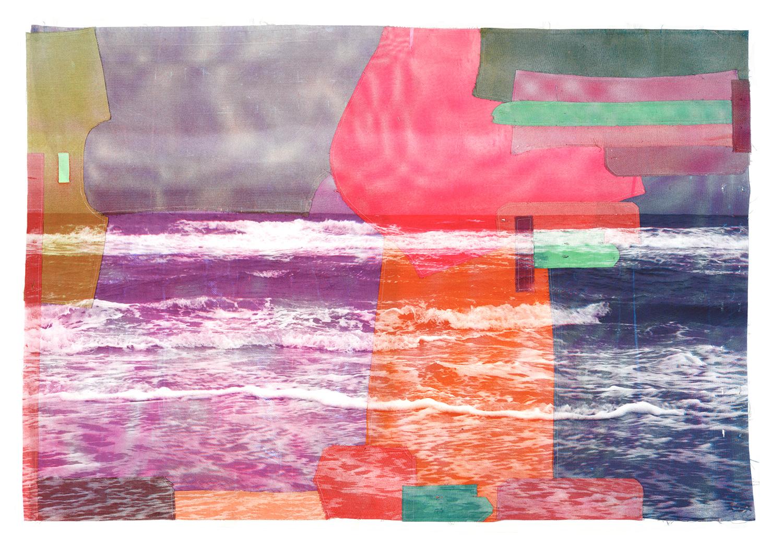 Maria Lilja, Havet Farbe screentryck, textil 142 x 95 cm 22.000:-