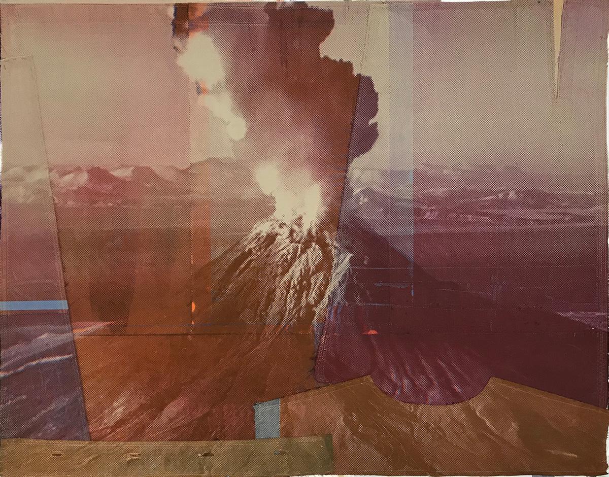 Maria Lilja, Vulkan 2, screentryck, textil. 64 x 83 cm