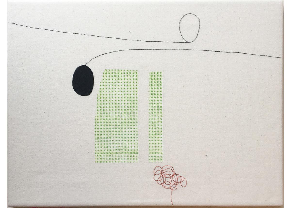 Cecilia Hjelm, Två Av Samma, Textil blandteknik, tryck, broderi utfört på bomullstyg och uppspänd på kilram. 33 x 44 cm.