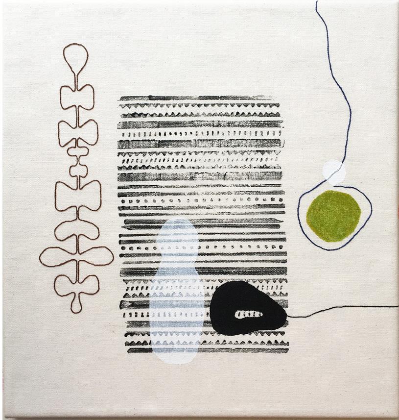 Cecilia Hjelm, Vit Skugga, Textil blandteknik, tryck, broderi utfört på bomullstyg och uppspänd på kilram. 34 x 36 cm.